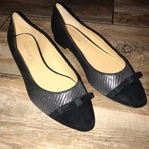 Talbots Shoes - Talbots - Black and Silver Flats (9.5M)